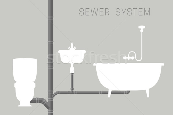 Sewer system with pipes Stock photo © biv