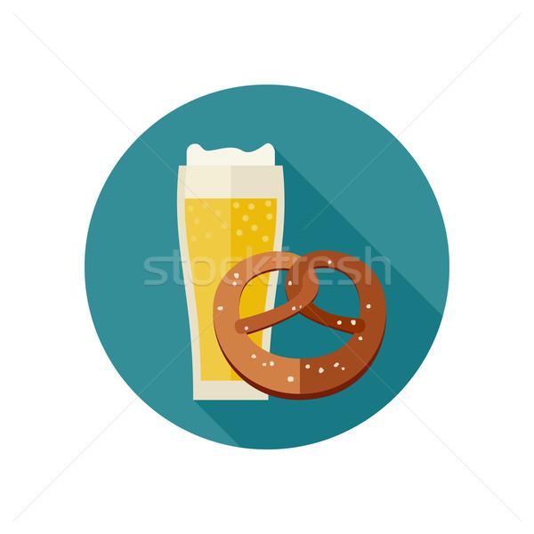 Bier zoute krakeling mok icon bar drinken Stockfoto © biv