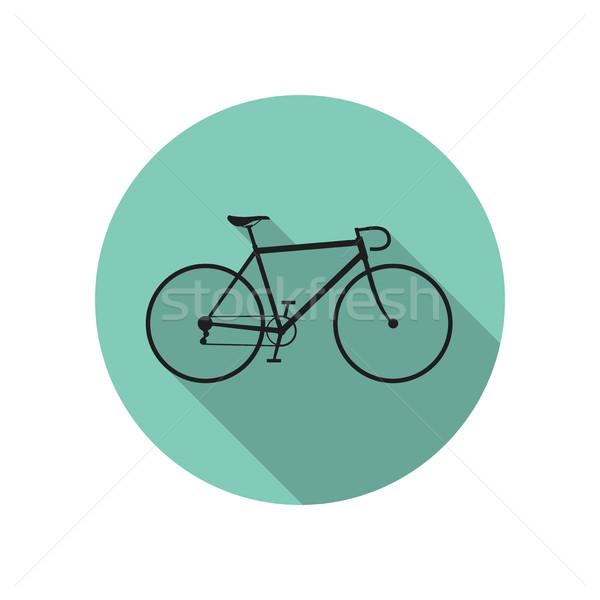 Bisiklet ikon yeşil uzun gölge spor Stok fotoğraf © biv