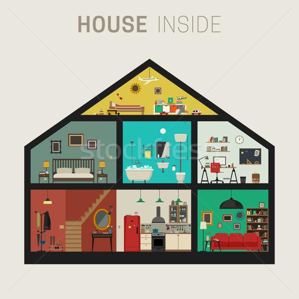 дома внутри интерьер вектора набор фундаментальный Сток-фото © biv