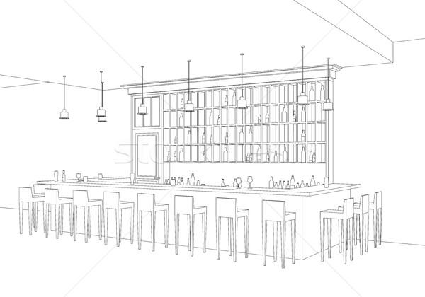 バー 行 インテリア レストラン ベクトル 観点 ストックフォト © biv