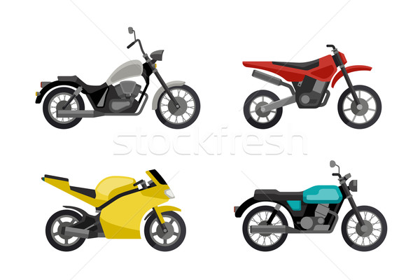 Motorcycles in flat style. Stock photo © biv