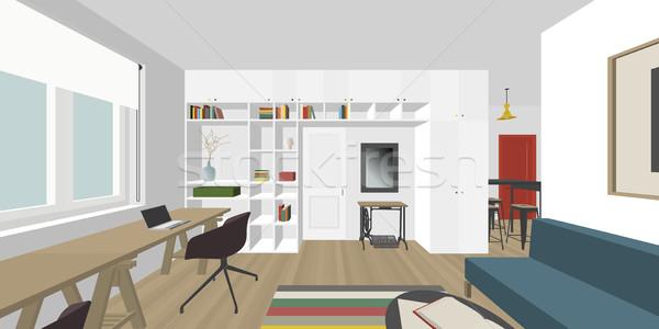 Iç perspektif görmek oturma odası inşaat ev Stok fotoğraf © biv