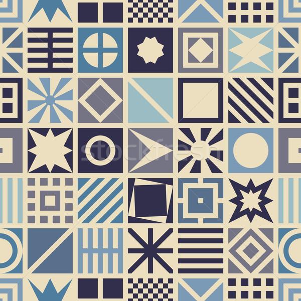 Vierkante meetkundig Blauw kleur achtergrond Stockfoto © biv