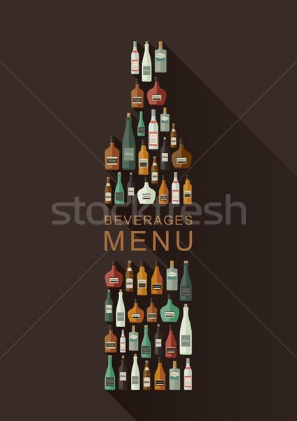 Içkiler menü şişeler şişe biçim vektör Stok fotoğraf © biv