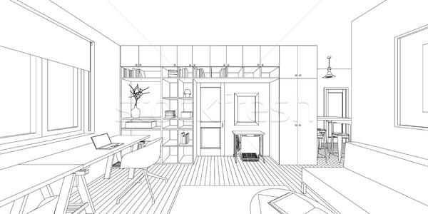 インテリア 図面 スケッチ リビングルーム 建設 ストックフォト © biv