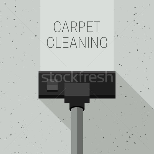 Halı temizlik elektrikli süpürge vektör afiş hizmet Stok fotoğraf © biv
