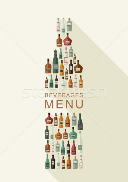 Boissons menu bouteilles bouteille forme vecteur Photo stock © biv
