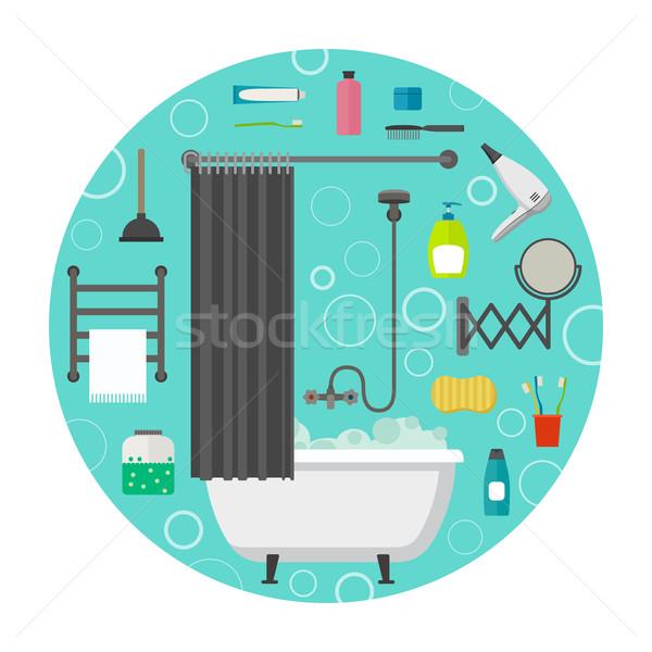 Hygiène vecteur icônes eau beauté signe Photo stock © biv