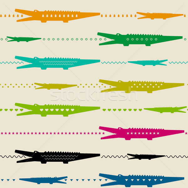 Zoo pattern with crocodiles Stock photo © biv