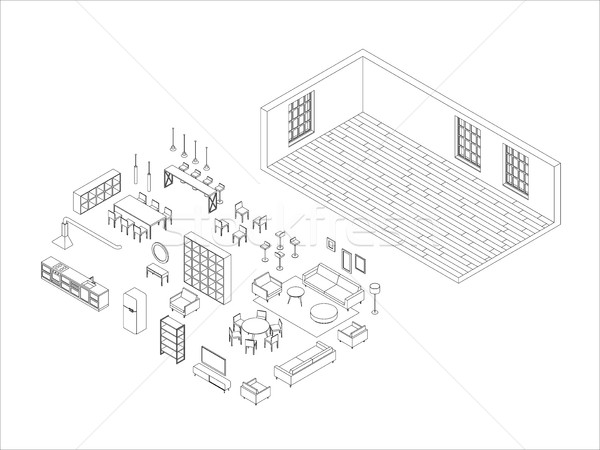 Line furniture set in isometric view Stock photo © biv