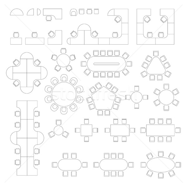 Office furniture line symbols for architectural plans. Stock photo © biv