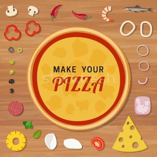 ピザ 材料 木製のテーブル テクスチャ 木材 ストックフォト © biv