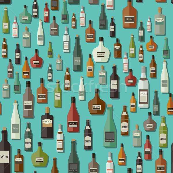 Bevande senza soluzione di continuità vettore pattern bottiglie Foto d'archivio © biv