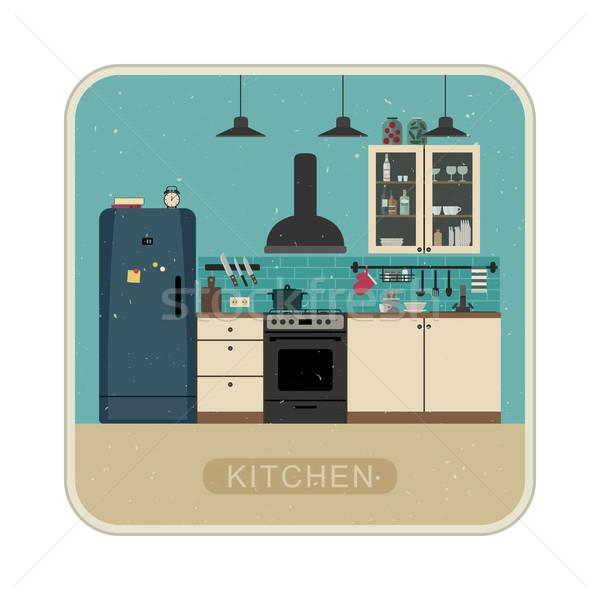 Retro mutfak iç mobilya vektör örnek Stok fotoğraf © biv