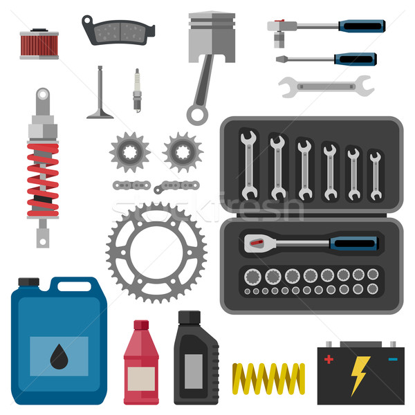 Moto parts with tools. Stock photo © biv