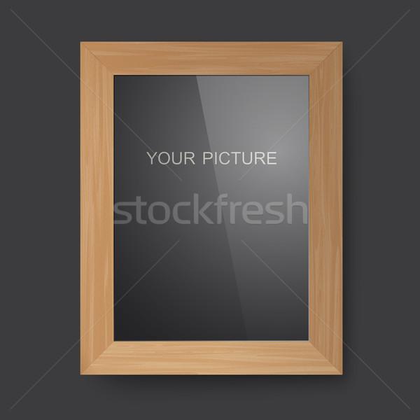 Fából készült négyszögletes keret 3D fényképkeret árnyék Stock fotó © biv