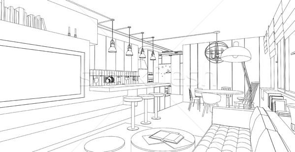 Interior vector dibujo línea blanco arquitectónico Foto stock © biv