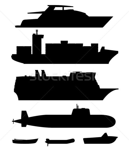 Stockfoto: Schepen · boten · zwarte · silhouetten · witte · business