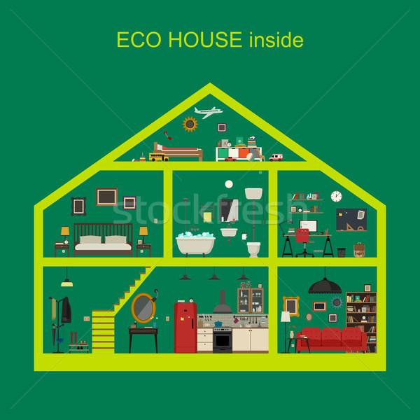 Eco ev içinde ekolojik iç vektör Stok fotoğraf © biv