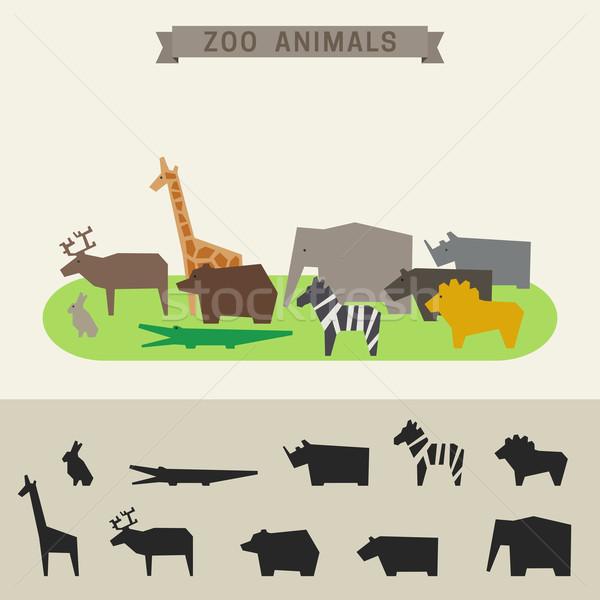Zoo zwierzęta zoo banner geometryczny zwierząt streszczenie Zdjęcia stock © biv
