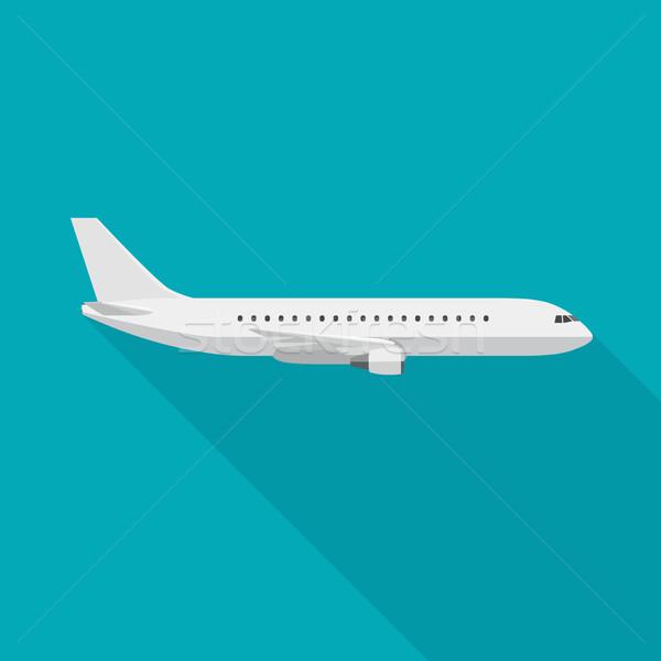 Avião avião longo sombra estilo vetor Foto stock © biv