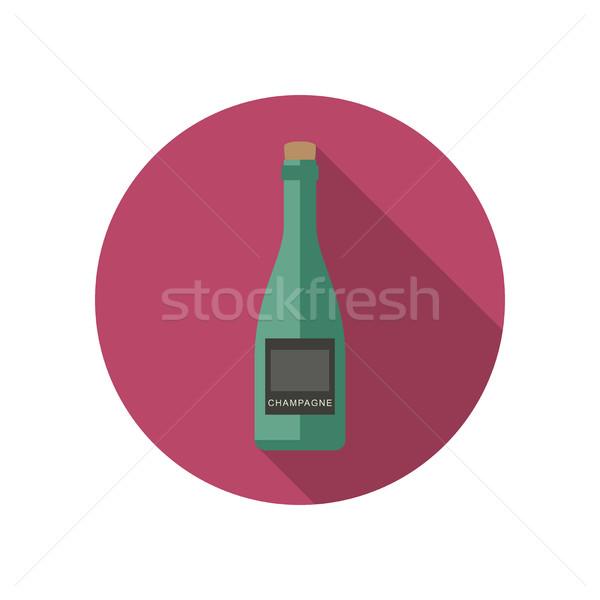 シャンパン アイコン スタイル ベクトル ボトル ワイン ストックフォト © biv