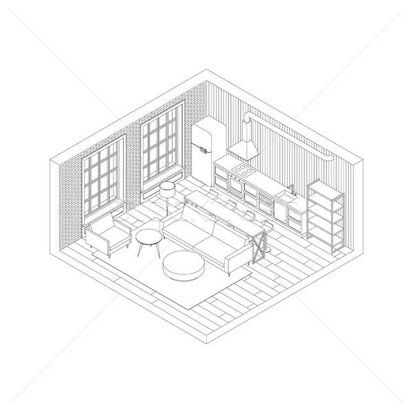 Hat oturma odası iç izometrik görmek örnek Stok fotoğraf © biv