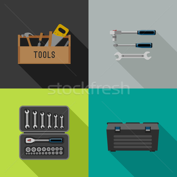 Outils icônes style vecteur illustrations main Photo stock © biv