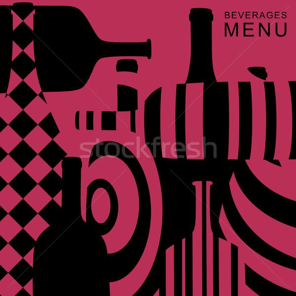 Napoje menu wektora streszczenie butelek projektu Zdjęcia stock © biv