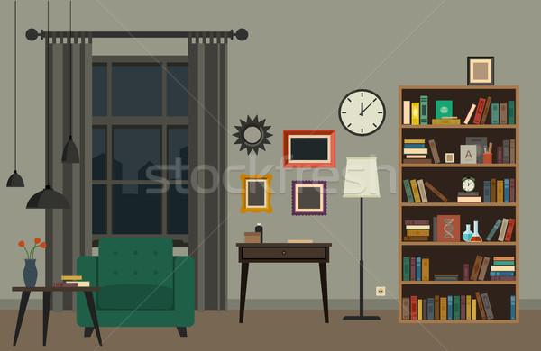 Oturma odası iç mobilya vektör afiş ev Stok fotoğraf © biv