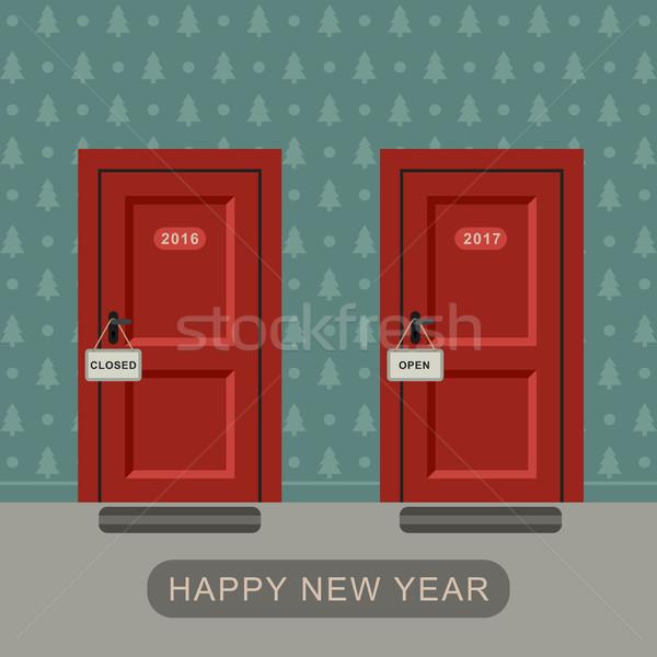 Gelukkig nieuwe jaar twee deuren partij Stockfoto © biv