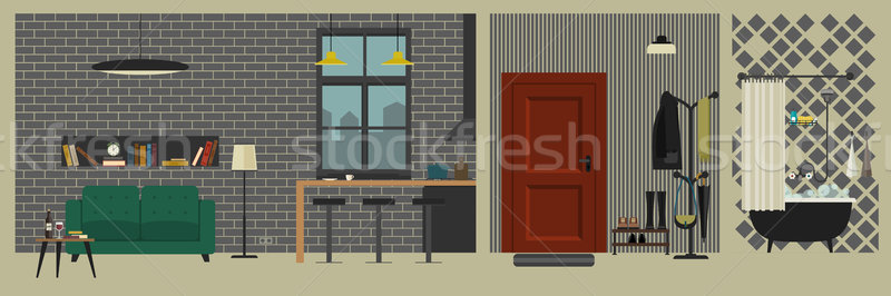 Apartment interior with bar in flat style.  Stock photo © biv