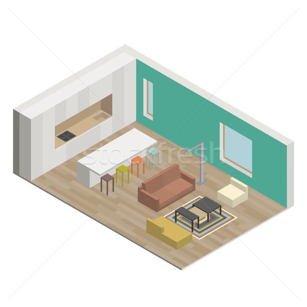 Salón ilustración interior vista casa Foto stock © biv