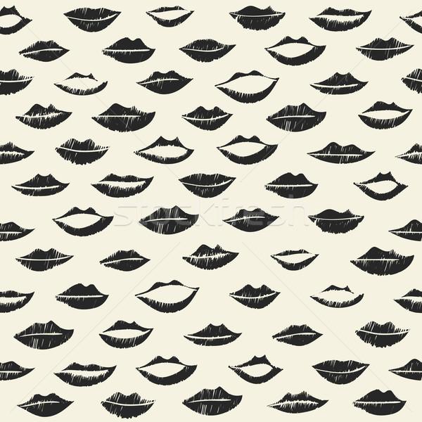 Dudaklar siyah renkler kız moda Stok fotoğraf © biv