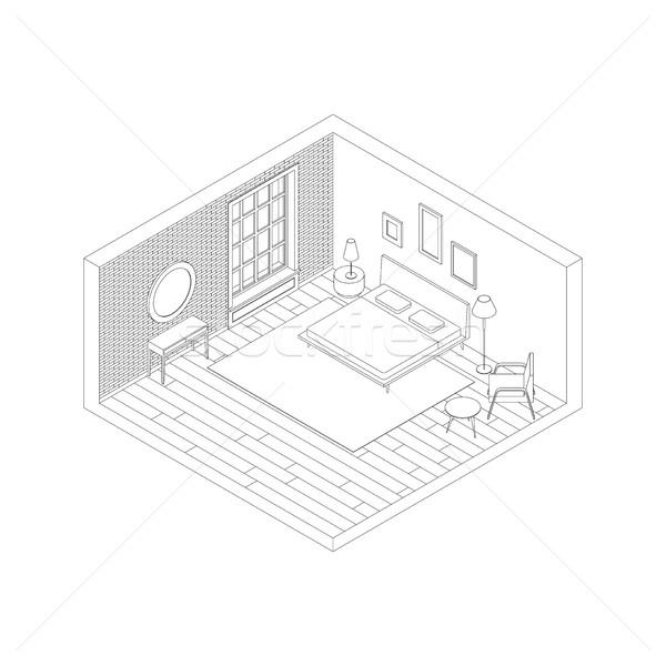 Dormitorio color línea vista habitación Foto stock © biv
