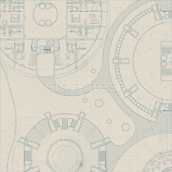 ベクトル 建築の 青写真 エンジニアリング 技術 計画 ストックフォト © biv