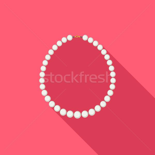 Gyöngy nyaklánc stílus hosszú árnyék terv Stock fotó © biv