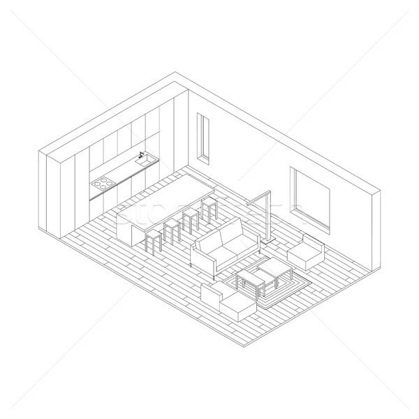 Woonkamer illustratie interieur isometrische huis Stockfoto © biv