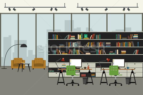 Moderne kantoor interieur stijl Open ruimte Stockfoto © biv