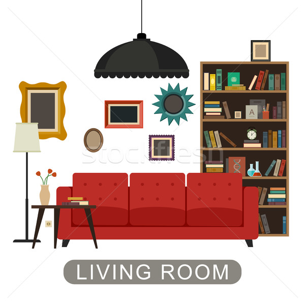 Salón interior muebles vector banner reloj Foto stock © biv