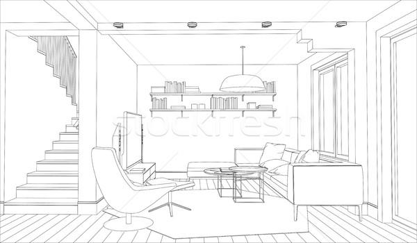 Iç hat çizim beyaz ofis ev Stok fotoğraf © biv