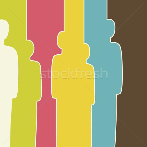 Renkli kalabalık renk insanlar siluetleri soyut Stok fotoğraf © biv