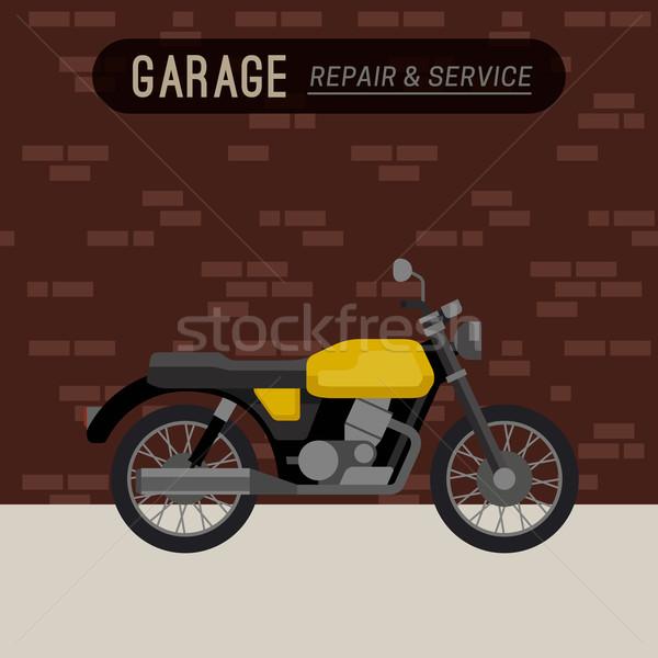 ガレージ オートバイ スタイル レトロな 自転車 ストックフォト © biv
