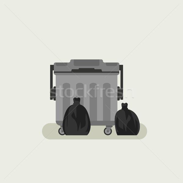 Zwarte vuilnis zakken ontwerp teken Stockfoto © biv