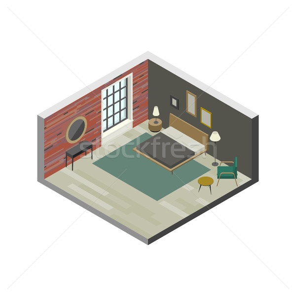 Bedroom in isometric view Stock photo © biv