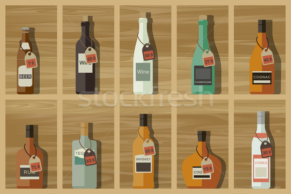 Icons of alcoholic beverages Stock photo © biv