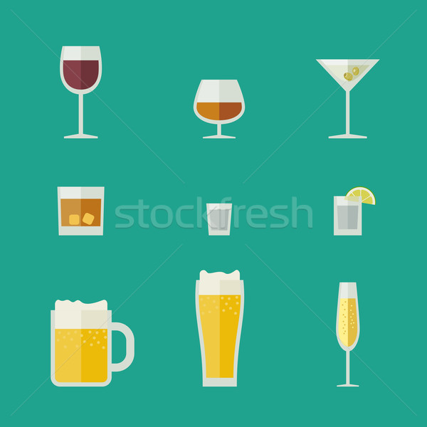 Mugs and glasses icons. Stock photo © biv