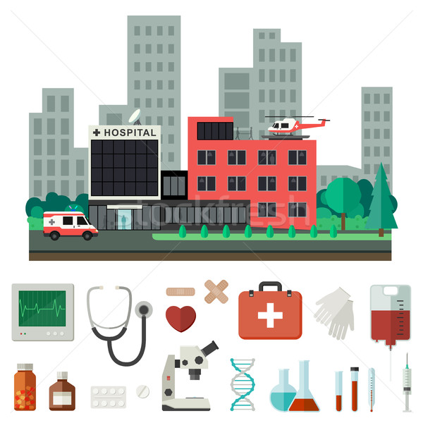 Hospital with medical icons. Stock photo © biv