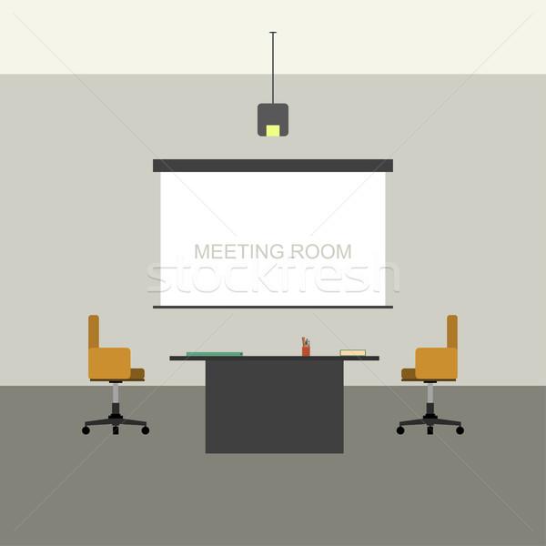 Tárgyalóterem belső stílus projektor képernyő üzlet Stock fotó © biv